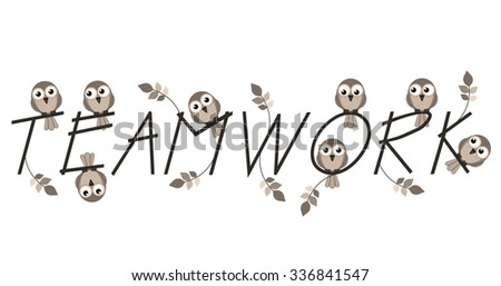 Teamwork twig text isolated on white background - stock photo