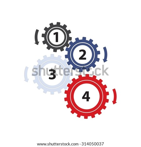 Teamwork / Value Chain - 4 Gearwheels with Arrows, Infographic on a white background - stock photo