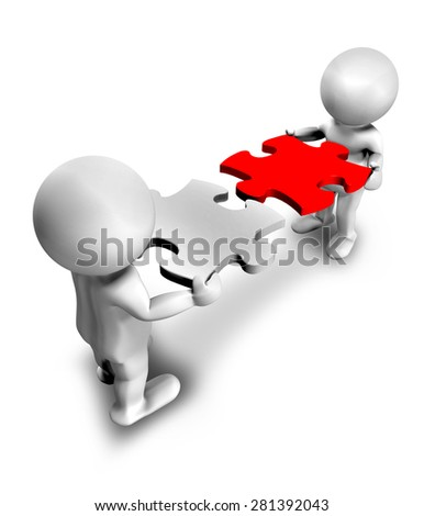 teamwork with effort and dedication, represented in 3d - stock photo