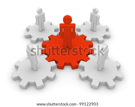 Teamwork with team leader - stock photo