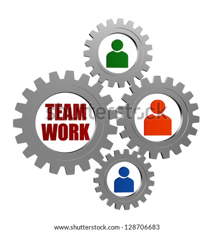 teamwork word and colored person signs in 3d silver grey gearwheels, business concept - stock photo