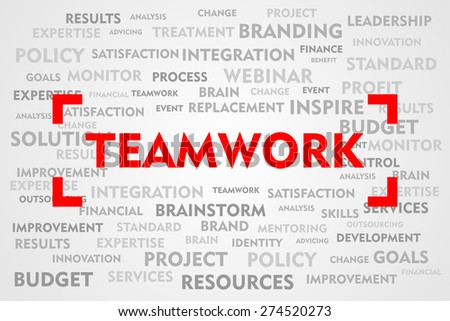TEAMWORK word business concept on red target sign - stock photo