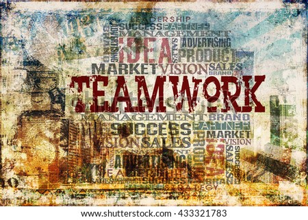 Teamwork Word Cloud Concept Background - stock photo