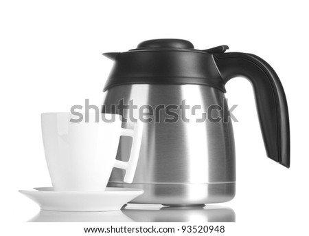 teapot and cup isolated on white - stock photo