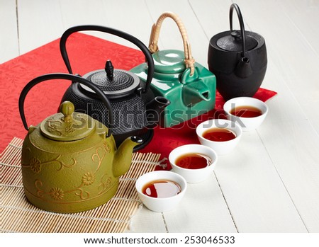 teapot, bowl and tea  - stock photo