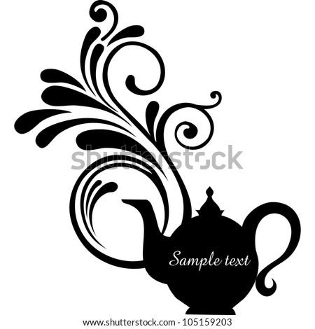 Teapot silhouette isolated on White background. Restaurant menu or Invitation. illustration - stock photo