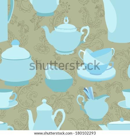 Teapots seamless pattern - raster version - stock photo