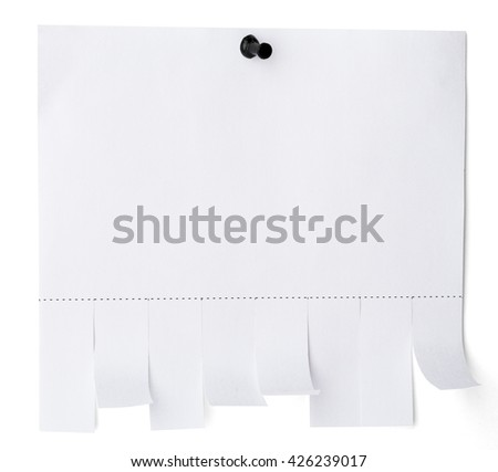 Tear off paper notice with copy space for text on white wall. Isolated - stock photo