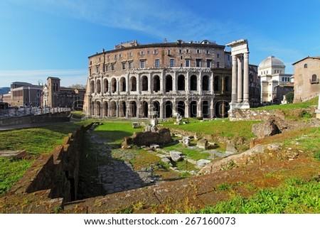 Teatro di Marcello. Theatre of Marcellus. Rome. Italy - stock photo