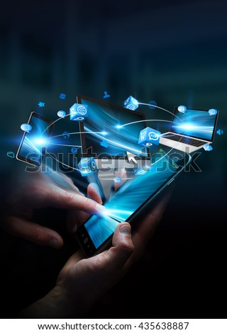Tech devices and icons applications connected to businesswoman mobile phone '3D rendering' - stock photo