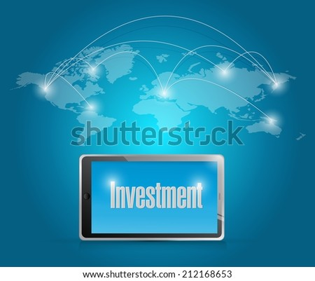 tech investment around the globe. illustration design over a blue background - stock photo