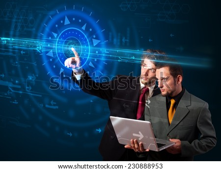 Tech people pressing high technology control panel screen concept  - stock photo