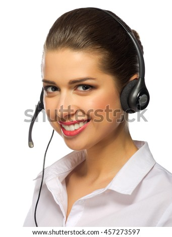 Tech support operator isolated on white - stock photo