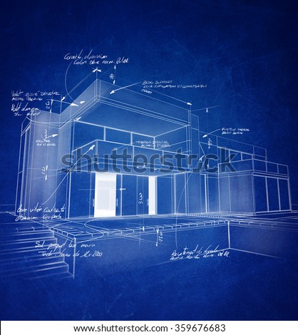 Technical architecture drawing with chalky white strokes on a blue background - stock photo