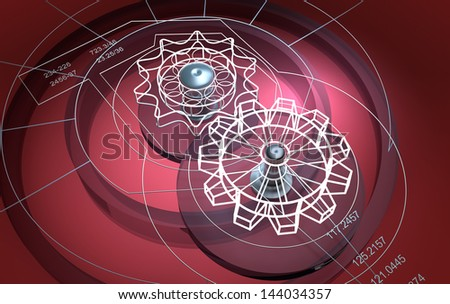 Technical background : cogwheels - stock photo