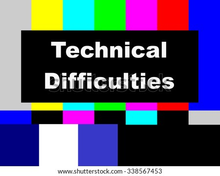 Technical Difficulties SMPTE color bars television test pattern  - stock photo
