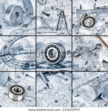 Technical drawings with the bearing in a blue toning - stock photo
