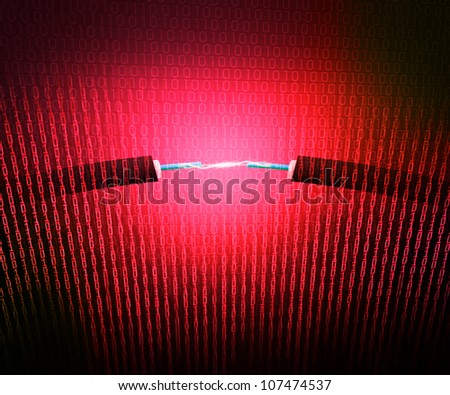 Technical Electricity Red Background - stock photo