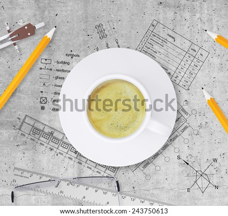 Technical plan of building, pencils, ruler, compasses, eyeglasses and cup of coffee Top view, on smooth stone surface - stock photo
