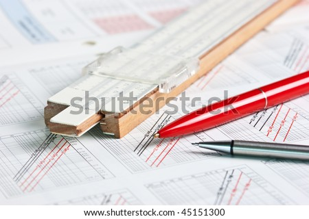technical scheme of a slide rule - stock photo