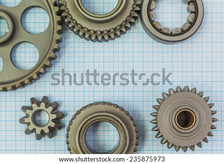Technical topic on graph paper can use as background - stock photo