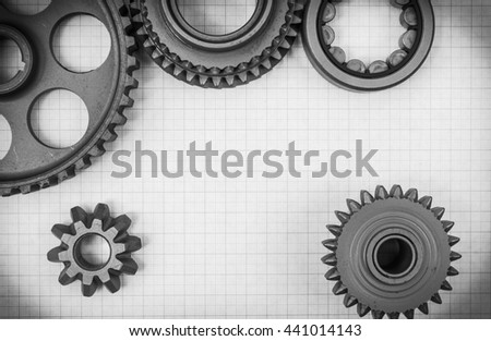 Technical topic on graph paper can use as background . Black and white photography. - stock photo
