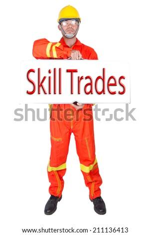 technician in uniform holding toolbox and word skill trade on white banner against white background isolated on white background  - stock photo