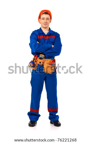 Technician man working class with equipment against white background full-length - stock photo