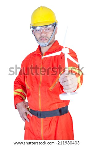 technician with holding wind turbine isolated on white background with clipping path - stock photo