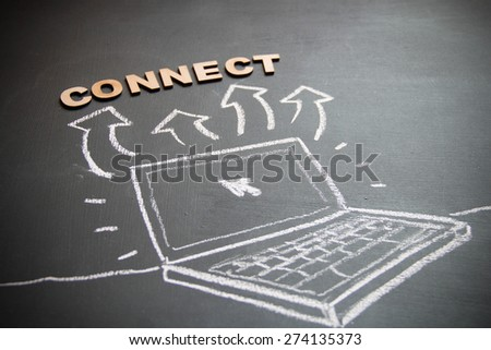 Technological business concept drawing on blackboard. Concept is internet connection. Technology is the best concept in world.  - stock photo