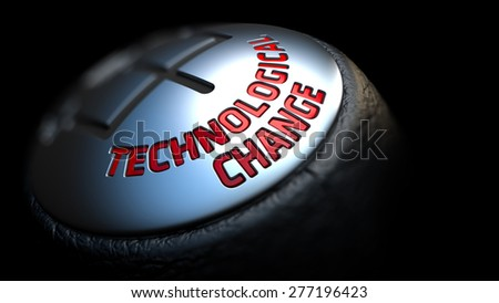 Technological Change - Red Text on Black Gear Shifter with Leather Cover. Close Up View. Selective Focus. - stock photo