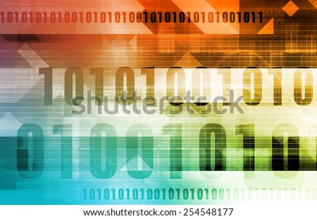 Technology Abstract with Binary Data Moving as Art - stock photo