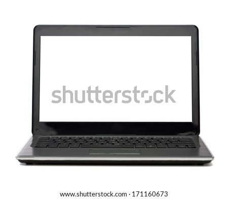 technology and advertisement concept - laptop computer with blank white screen - stock photo