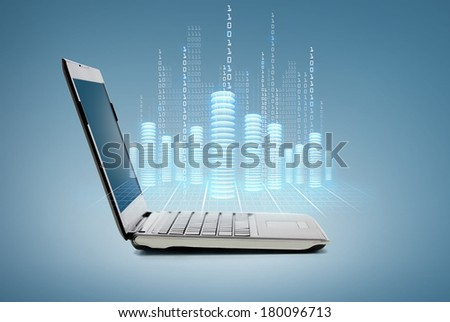 technology and advertisement concept - laptop computer with digital coins and data - stock photo