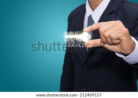 Technology and business systems, and the Internet - keys of PUBLIC HEALTH SERVICE search.  - stock photo