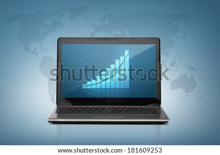 technology and economics concept - laptop computer with blank white screen - stock photo