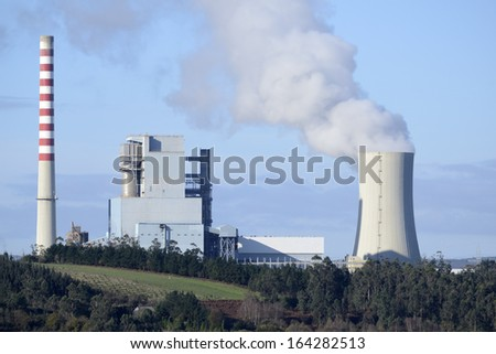 Technology and energy business. Industrial chemical process. Environmental emissions and contamination - stock photo