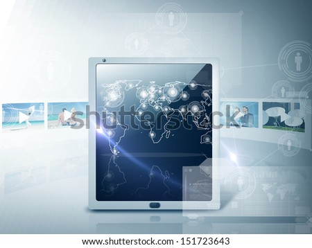 technology and internet concept - illustration of tablet pc with map and footage - stock photo