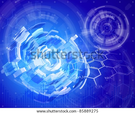 Technology background & chemical formulas. Bitmap copy my vector ID 80011801 - stock photo