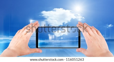 Technology background, cloud computing, augmented reality, abstract smartphone in hands, multimedia gadget - stock photo