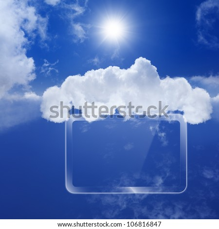 Technology background, cloud computing, augmented reality, abstract smartphone, multimedia gadget - stock photo