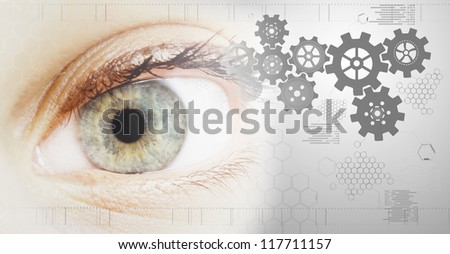 technology background with beautiful eye - stock photo