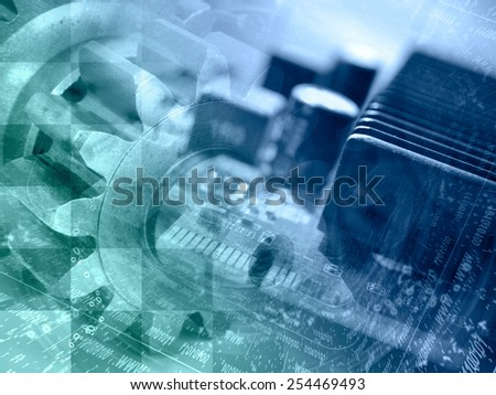Technology background with electronic device, gears and digits, in greens and blues. - stock photo