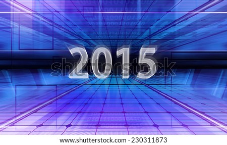Technology background with transparent figures 2015 for New Year - stock photo