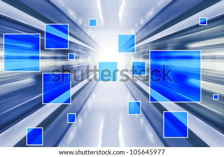 Technology background with transparent geometric shapes. Digital illustration - stock photo