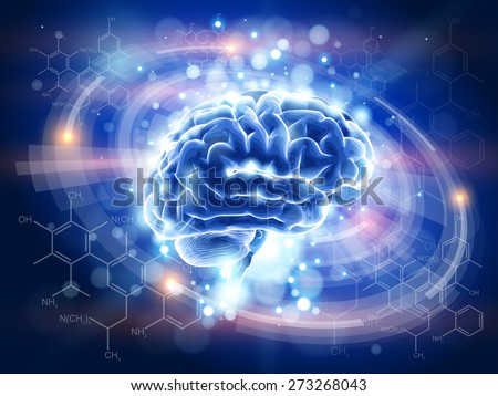 Technology blue concept - Brain, radial HUD interface elements, chemistry forms - stock photo