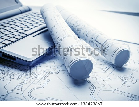 Technology blueprints - stock photo