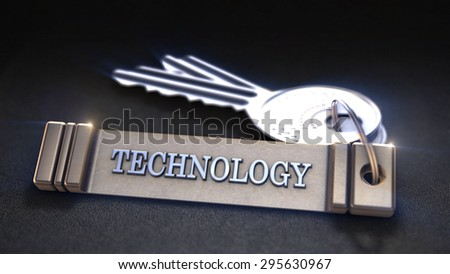 Technology Concept. Keys with Keyring. 3D rendering - stock photo