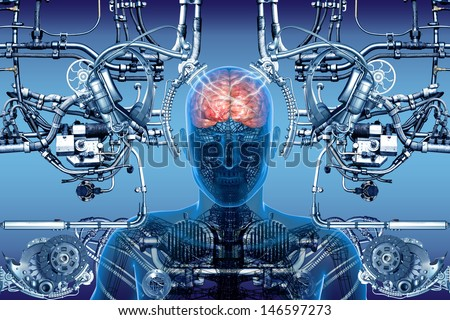 technology, cybernetics and people - stock photo
