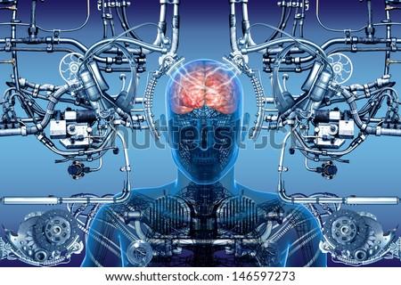 technology, cybernetics and people - stock photo